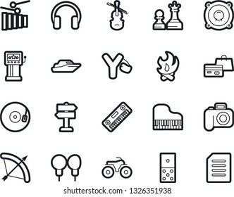 Bold Stroke Vector Icon Set - bow vector, domino, queen and pawn, slot machine, shopping, yacht, slingshot, piano, photo camera, atv, fire, signpost, speaker, vinyl, xylophone, viola, headphones