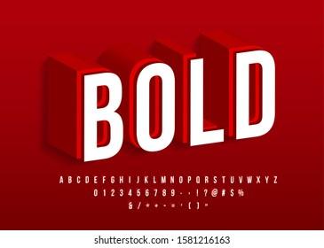 Bold strong font Modern 3d alphabet Red isometric text effect Vector