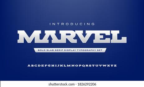Bold strong modern style slab serif display typography alphabet font set