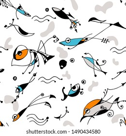 Bold surrealistic abstract seamless pattern with fish,wavy lines, arrows, dots, and shapes on white . Expresionism and surrealism art style drawing inspired in Joan Miro art.