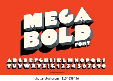 A bold typeface with 3d effects and cast shadows on a red-orange background.
