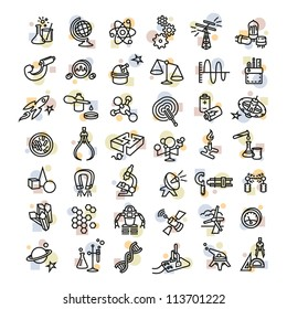 Bold Vector Research, Laboratory Science and Industry Icons