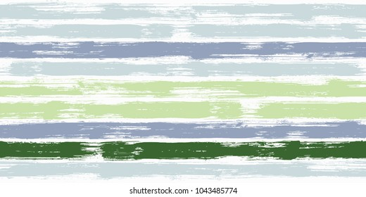 Bold watercolor brush stripes seamless pattern. Deep and pale green, pale and navy blue. grey paintbrush lines horizontal seamless texture for background. Hand drown paint strokes design artwork.