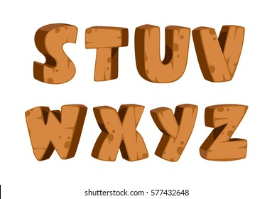 Bold wooden textured font alphabets for kids part 3