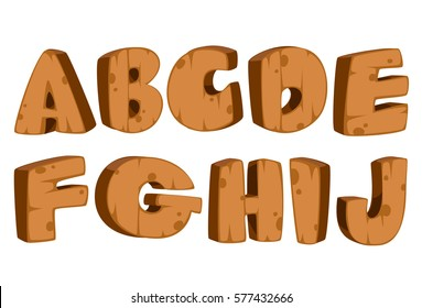 Bold wooden textured font alphabets for kids part 1