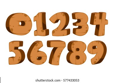 Bold wooden textured font alphabets for kids numbers