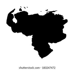 Bolivarian Republic of Venezuela vector map silhouette, isolated on white background. High detailed illustration.