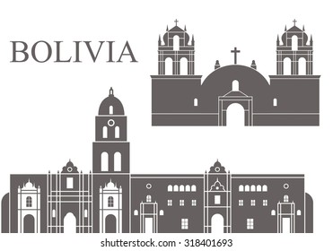 Bolivia. Architecture. Abstract buildings on white background
