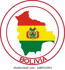 Bolivia flag on map of country; isolated on white background. Vector logo sticker button
