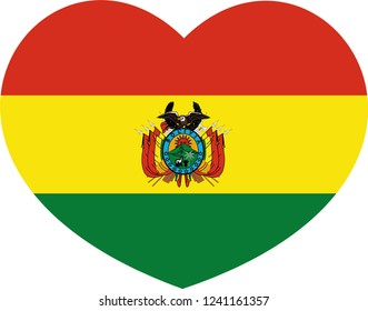 Bolivia flag vector, heart shape, state, sticker, 3d, celebrate, day, symbol and sign, eps 10