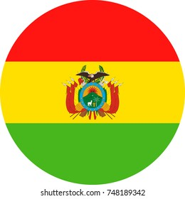 Bolivia Flag Vector Round Flat Icon - Illustration