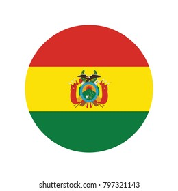 Bolivia Flag Vector Round Icon - Illustration, White paper circle with flag of Bolivia. Abstract illustration.