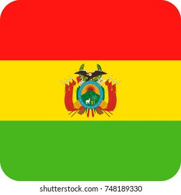 Bolivia Flag Vector Square Flat Icon - Illustration