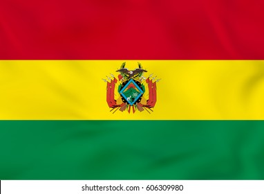 Bolivia waving flag. Bolivia national flag background texture. Vector illustration.
