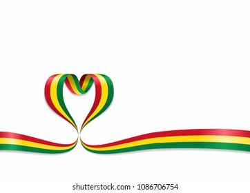 Bolivian flag heart-shaped wavy ribbon. Vector illustration.