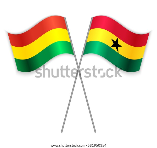 Bolivian and Ghanaian crossed flags. Bolivia combined with Ghana isolated on white. Language learning, international business or travel concept.