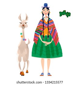 Bolivian woman in traditional clothes and Lama Alpaca. Vector illustration.
