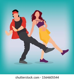 Bollywood actor couple displaying dance moves. Bollywood actor and actress dancing.