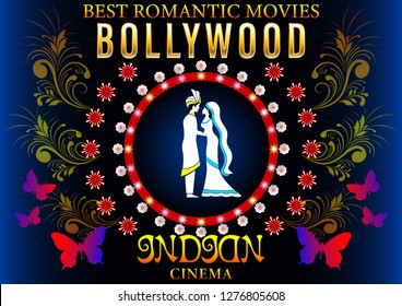 Bollywood Banner Love Romantic. Gold inscription,loving couple in Pattern flowers circle, Indian Cinema Poster. Vector Illustration
