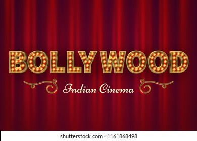 Bollywood cinema poster. Vintage indian classic movie vector background with red curtains. Illustration of lettering bollywood india, cinematography event cinema