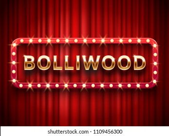 Bollywood cinema. Vintage indian movie, cinematography and theater poster. Welcome neon retro 3d classic film posters board gold logo on red curtains background realistic vector template illustration