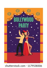 Bollywood couple dance vector illustration