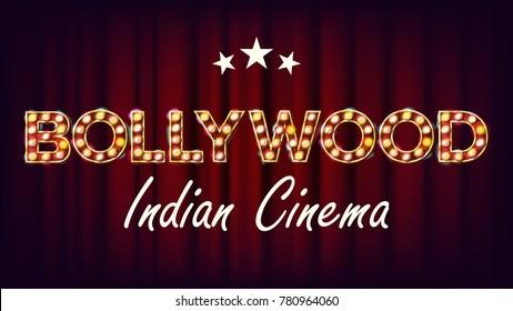 Bollywood Indian Cinema Banner Vector. Vintage Cinema 3D Glowing Element. For Cinematography Advertising Design. Retro Illustration