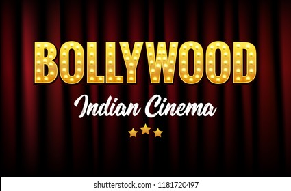 Bollywood Indian Cinema Film Banner. Indian Cinema Logo Sign Design Glowing Element with Stage and Curtains.