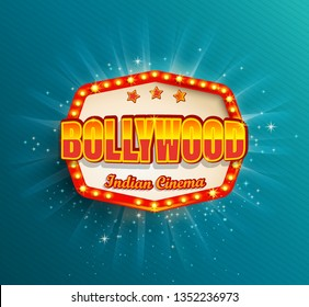 Bollywood Indian Cinema Film frame with retro light bulbs.Glowing movie Logo,symbol,poster, banner for your