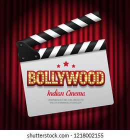 Bollywood indian cinema. Movie banner or poster with clapper board on curtain background. Vector illustration.