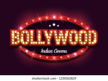 Bollywood indian cinema. Movie banner or poster in retro style. Vector illustration.