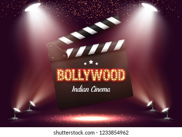 Bollywood indian cinema. Movie banner or poster with clapper board illuminated by spotlights. Vector illustration.