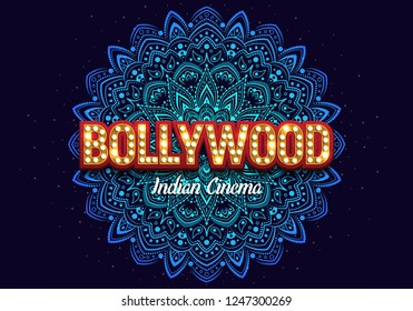 Bollywood indian cinema. Movie banner or poster with traditional ornament. Vector illustration.