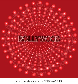 Bollywood indian cinema. Movie banner, logotype, film poster in retro style with neon lights in round with red background. Lettering vector illustration EPS10.