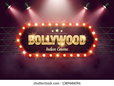 Bollywood indian cinema. Movie banner or poster in retro style illuminated by spotlights. Vector illustration.