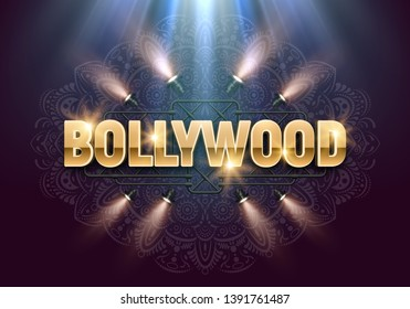 Bollywood indian cinema. Movie banner or poster illuminated by spotlights. Vector illustration.