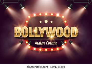 Bollywood indian cinema. Movie banner or poster in retro style with spotlights. Vector illustration.