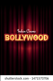 Bollywood indian cinema. Movie banner or poster in retro style with theatre curtain