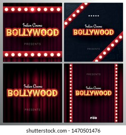 Bollywood indian cinema. Set of Movie banners or poster in retro style with theatre curtain