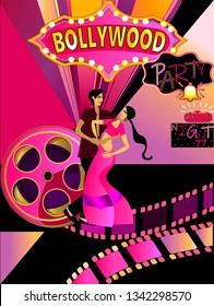 Bollywood, is the Indian Hindi-language film industry, based in the city of Mumbai.Cinematography and theater poster.Bollywood party songs.Wedding party.Vector for design flyer,invitation, card.
