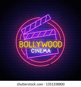 Bollywood neon sign, bright signboard, light banner. Bollywood logo neon, emblem. Vector illustration
