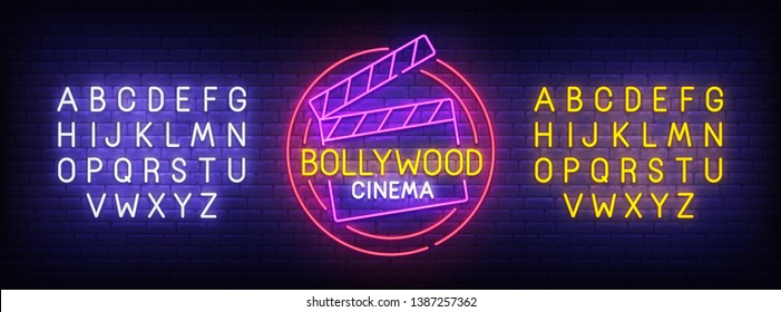 Bollywood neon sign, bright signboard, light banner. Bollywood logo, emblem and label. Neon sign creator. Neon text edit