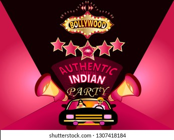 Bollywood night.Bollywood, is the Indian Hindi-language film industry, based in the city of Mumbai.Vector for design flyer,invitation, card, poster.
