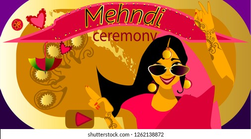Bollywood  night.Bride sangeet performance.Mehendi party invitation. Wedding invitation card.Vector illustration.