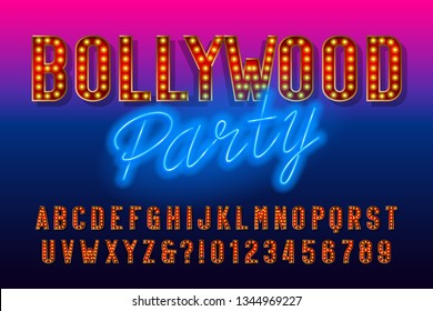Bollywood party alphabet font. Retro letters and numbers with light bulb. Vector typescript for your design.