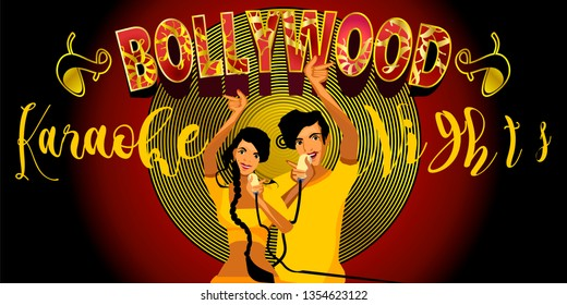 Bollywood party songs.Wedding party.Vector for design flyer, invitation, card, poster.