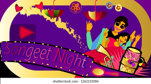 Bollywood Sangeet Night.Bride & Groom sangeet performance.Wedding invitation card.Vector illustration.