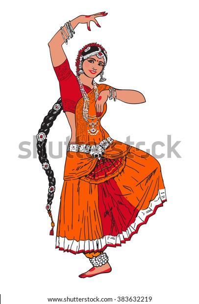 Bollywood-Stern. Tanzmädchen. Indischer Tanz. Orientalisches Mädchen tanzt auf weißem Hintergrund. Mädchen in roter orientalischer Kleidung. Indischer Tanz, Bewegung, Film. Vektorgrafik