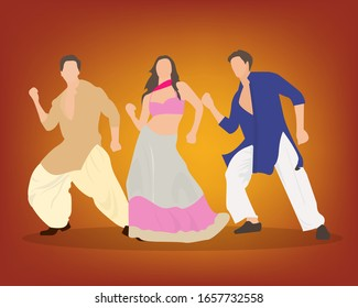 Bollywood style wedding dance performed by three dancers. One female and two male dancers.