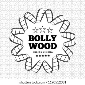 Bollywood is a traditional Indian movie. Vector illustration with film strip